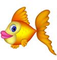 Cute yellow fish cartoon vector image