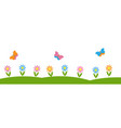 horizontal background with flowers and butterflies vector image