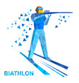 biathlon athlete shoots a rifle standing on skis vector image