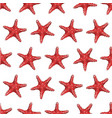 seamless pattern with red starfish vector image