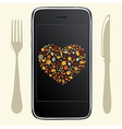 Food Icons With Phone vector image vector image