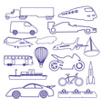 transportation outline blue simple icons set eps10 vector image