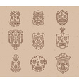 set of ethnic tribal colorful masks on li vector image