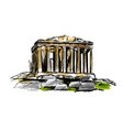 colored hand sketch the athenian acropolis vector image