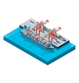 container ship with cranes vector image