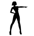 Female silhouette with a pointing hand vector image