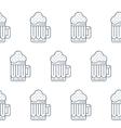 Foamy beer mug linear pattern vector image