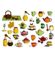 Tea drinks and dinnerware sketch icons vector image