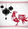 year rooster chinese calendar lanterns hanging vector image