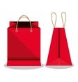 icon bag shop red paper design vector image
