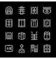 Set line icons of elevator vector image