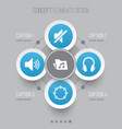 multimedia icons set collection of earphone vector image