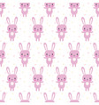 Cute seamless pattern with cartoon bunny funny vector image