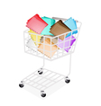 Nine Colors of Tabbed Folder in Shopping Cart vector image
