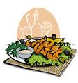 grilled salmon kebab vector image vector image