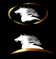 White gold horse logo vector image
