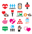 Charity helping other people icons vector image vector image