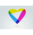 Banner with transparent colorful valentine heart vector image