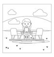 Coloring page with kid on playground vector image