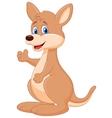 Cute kangaroo cartoon waving hand vector image