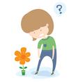 Little Girl Amazing A Big Flower vector image