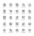 project management line icons set 21 vector image