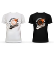 White and black t-shirt with basketball ball and vector image