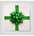Gift box with green ribbon EPS 10 vector image