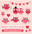 valentine stickers set with pink owls vector image vector image