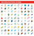 100 education icons set isometric 3d style vector image