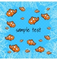 Clown fish with coral on a blue background vector image