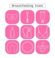 Breastfeeding motherhood flat white icons on a vector image