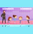 kids on figure skating training vector image