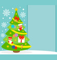 New year background card with fir tree vector image