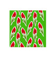 pattern of tulips sticker on a green background vector image
