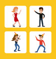 people funny party karaoke dance vector image