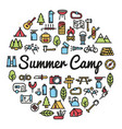 summer camp word with icons vector image