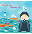 Summer Sea Diver in the Sea vector image