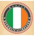 Vintage label cards of Ireland flag vector image