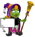 Witch Holding a Board With Cobwebs vector image