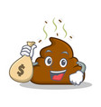 with money bag poop emoticon character cartoon vector image