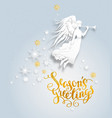 snow background with angel vector image