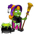 Witch Looking At Cauldron Unsure vector image vector image