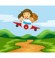Three kids flying the plane over the hills vector image