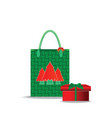Christmas shopping bag with gifts isolated on vector image