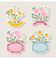 Floral romantic borders set vector image