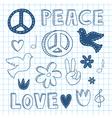 Peace doodle set vector image
