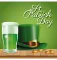 poster st patrick day hat and glass beer on wooden vector image