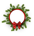Round christmas background with spruce branches vector image