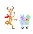 running shopping christmas reindeer vector image